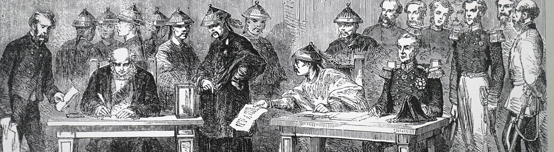 Lord Elgin unterzeichnet Vertrag von Tianjin, der den zweiten Opiumkrieg offiziell beendete.