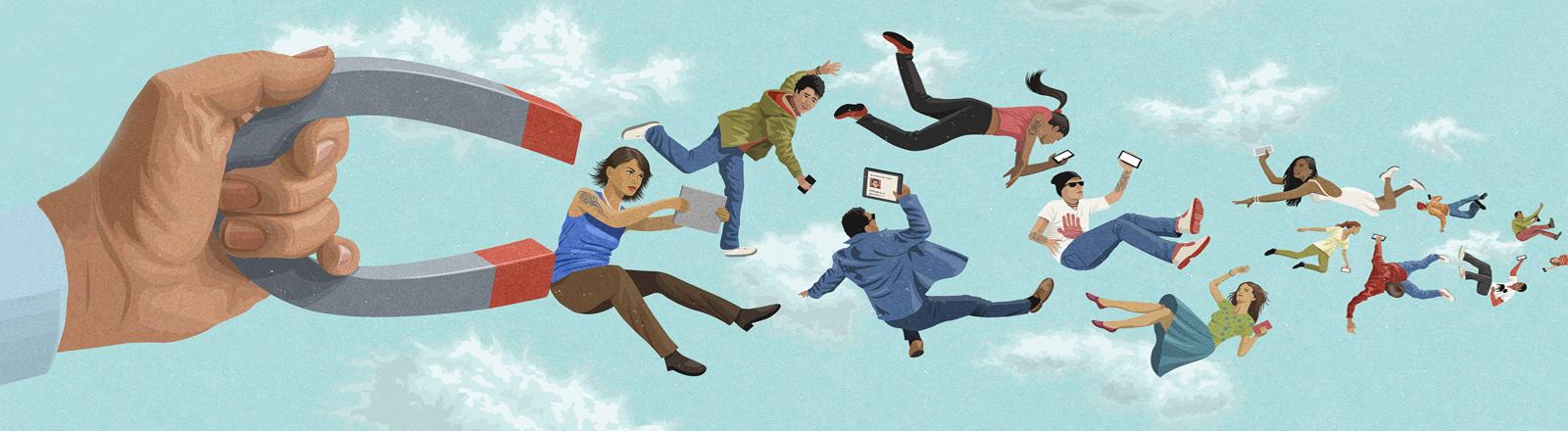 Illustration: Magnet zieht junge Menschen mit portablen Geräten an
