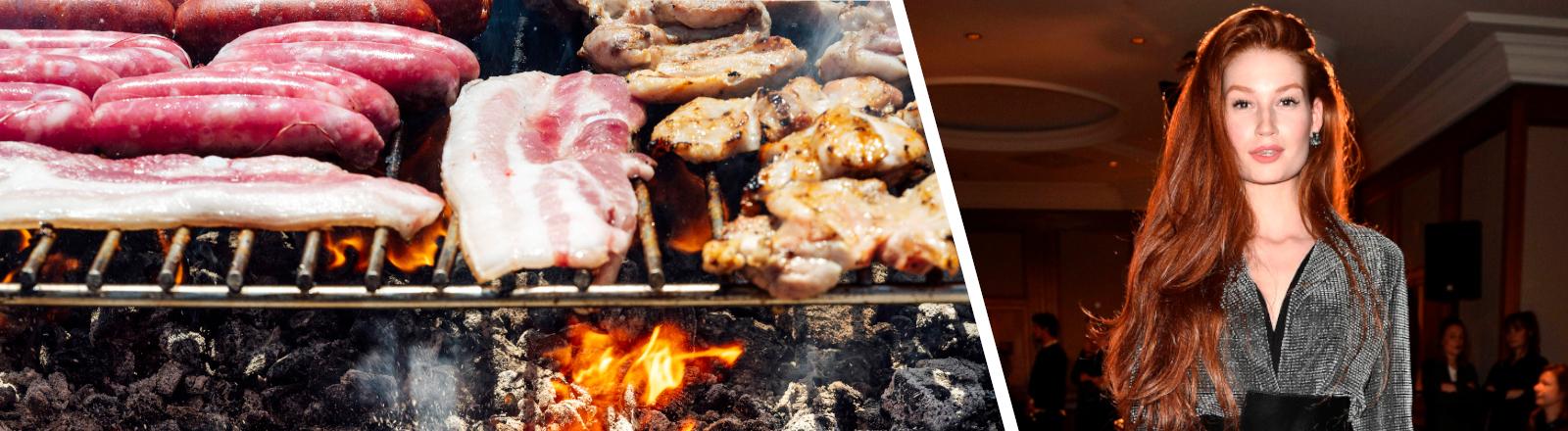 Collage aus zwei Fotos: Bild von einem Grill mit Fleisch und Bild von dem Model Jana Heinisch