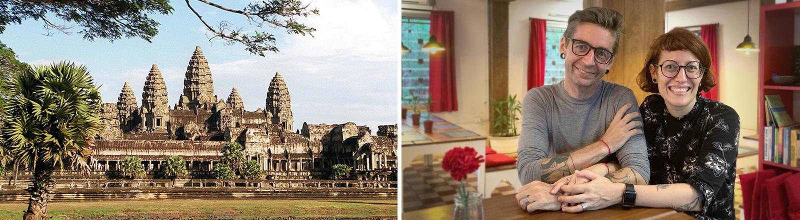 Angkor Wat in Kambodscha und Portrait von Sara und Paul Wallimann