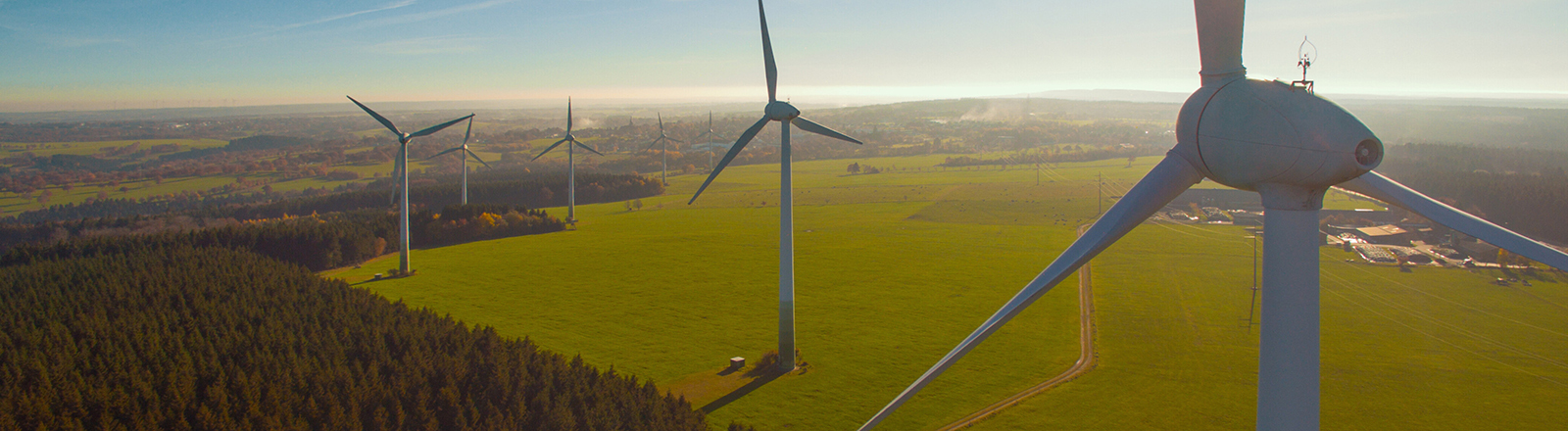 Wind turbines and agricultural fields on a summer day