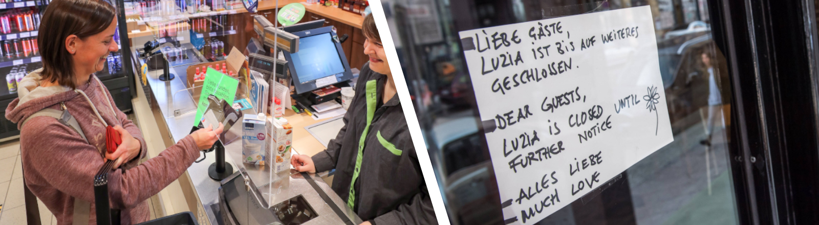 Collage: Supermarktkasse mit Plastikschutz und geschlossenes Café