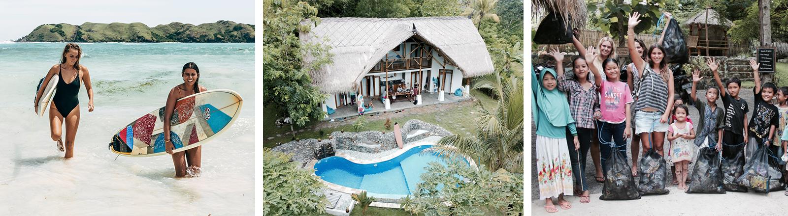 Zwei Frauen mit Surfbrett, ein Gästehaus mit Pool, eine Gruppe Frauen und Kinder beim Müllsammeln (Lombok, Indonesien)