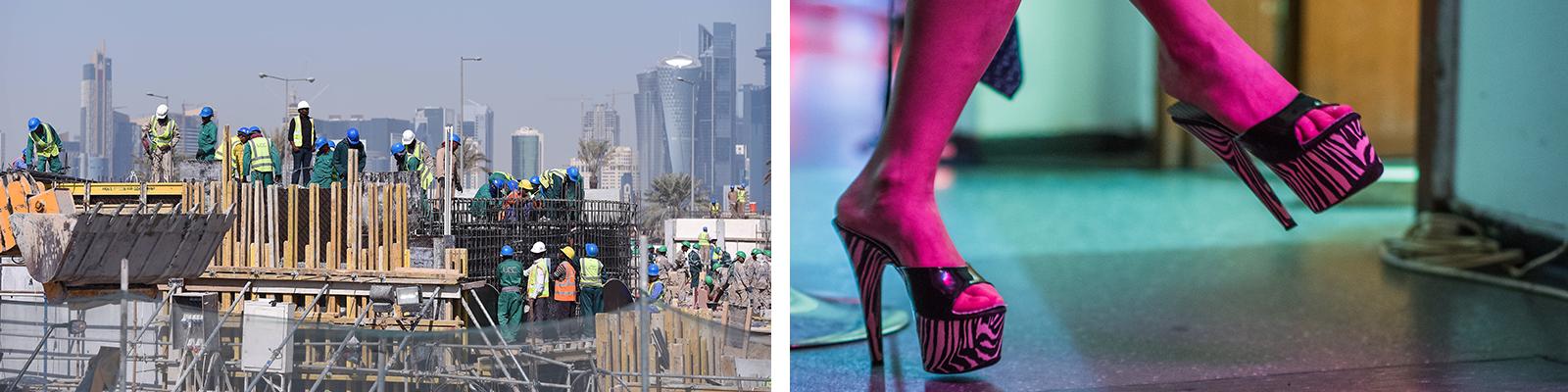 Bauarbeiter auf einer Baustelle vor der Skyline in Doha, Katar und Füße einer wartenden Prostituierten (Symbolbild)