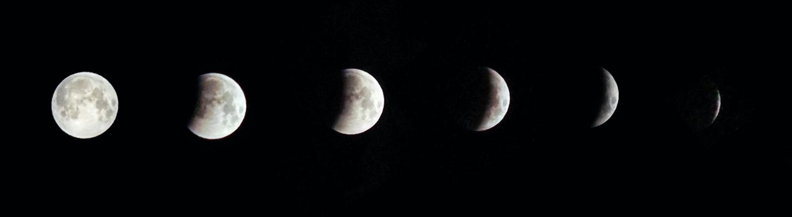 Der Mond in verschiedenen Phasen und Lichtgestalten