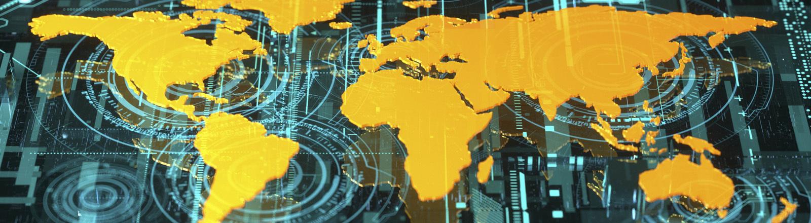 Weltkarte auf Grafikkarte