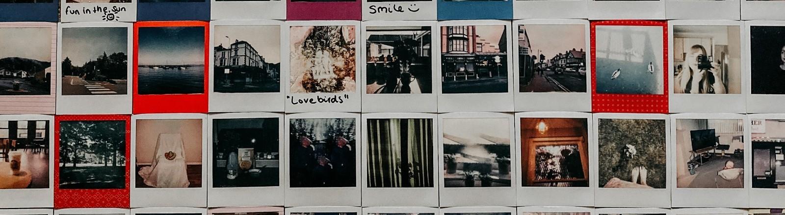 Eine Wand voller Polaroids mit verschiedenen Farben