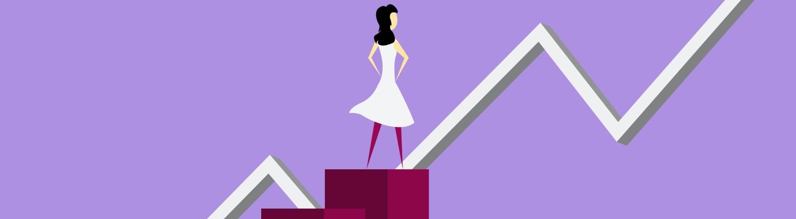 Illustration: Eine Frau steht auf Blöcken, hinter ihr ein Aktienpfeilverlauf
