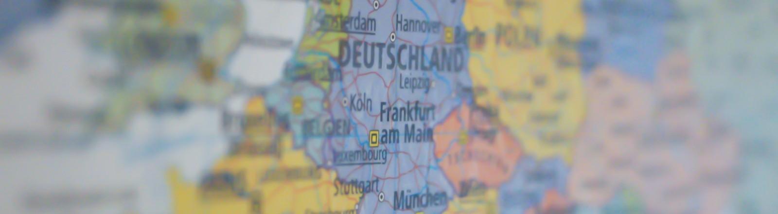 Eine Karte von Europa mit Deutschland im Mittelpunkt