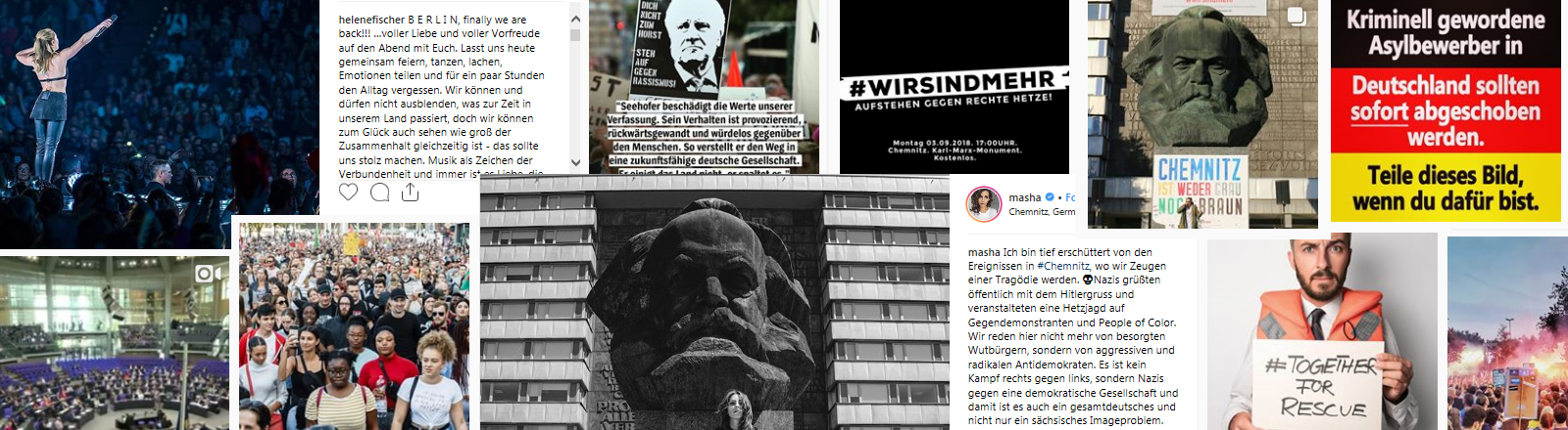 Collage politscher Instagram-Posts