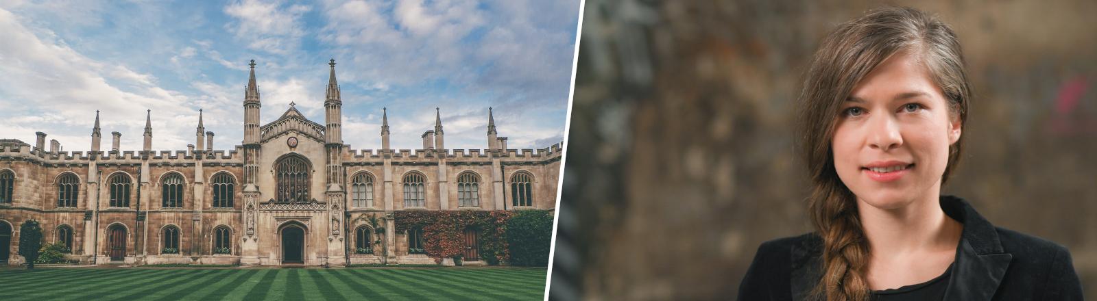 Collage aus Gebäude der Cambridge University und der Autorin Nele Pollatschek