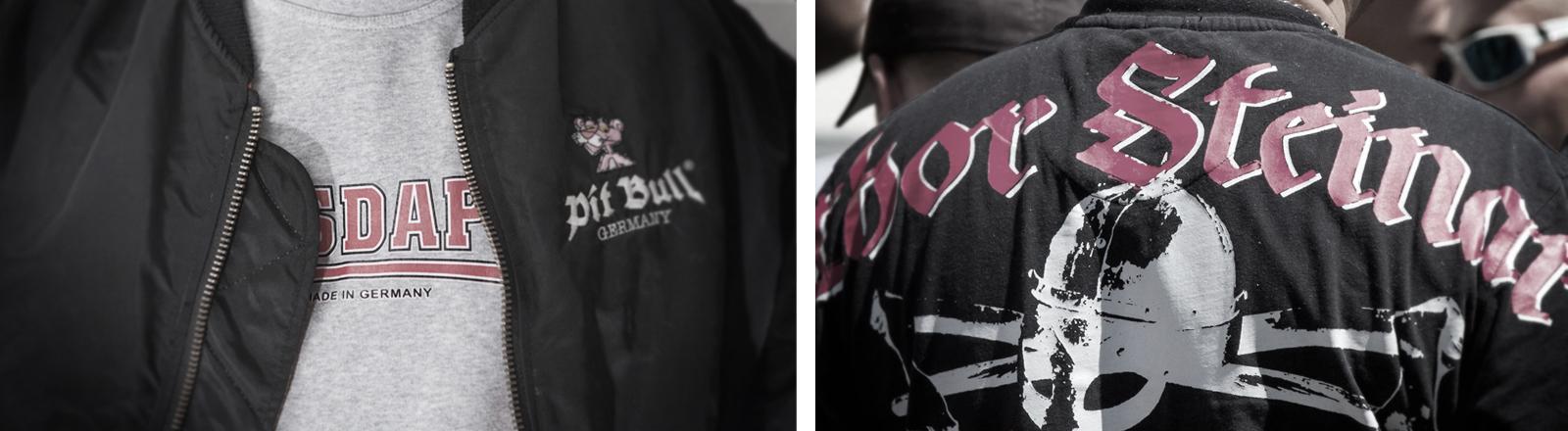 Nahaufnahmen rechtsextremer Mode der Marken Consdaple und Thor Steinar