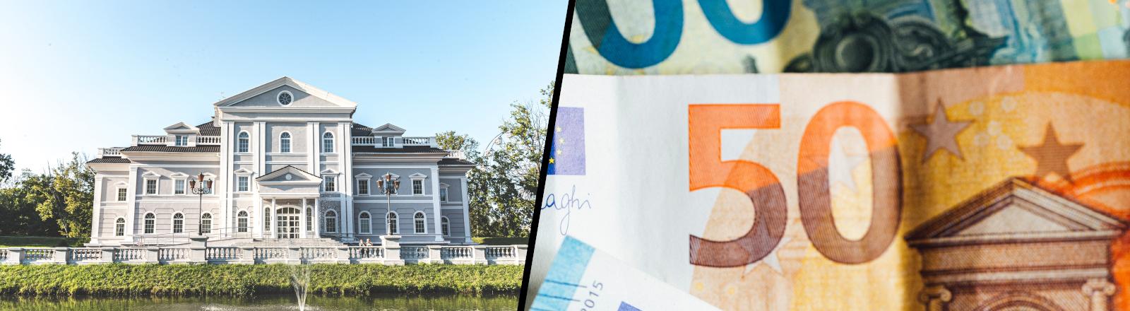 Collage aus großem Anwesen und Geldscheinen
