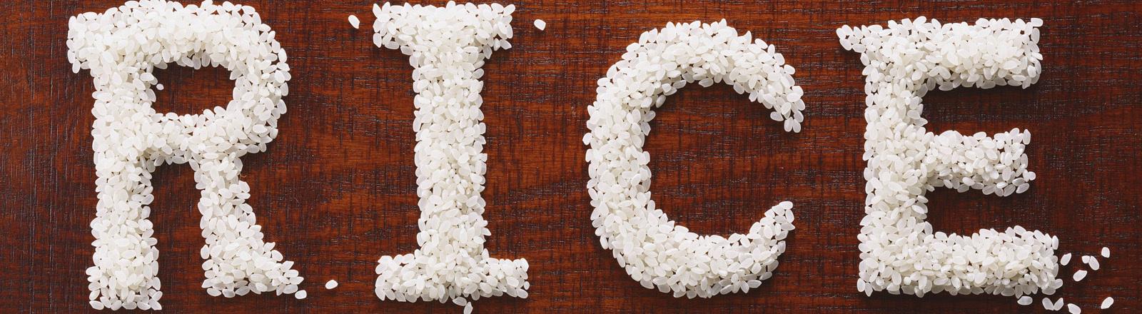Das Englische Wort für Reis in Reiskörnen verfasst.