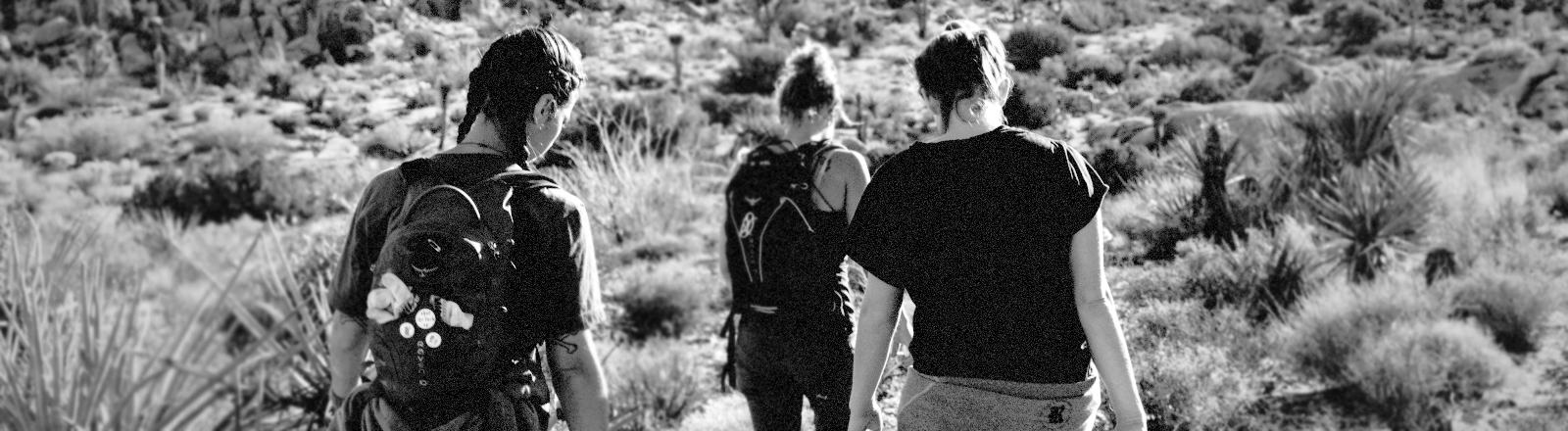 Drei Mädchen laufen über ein Feld.