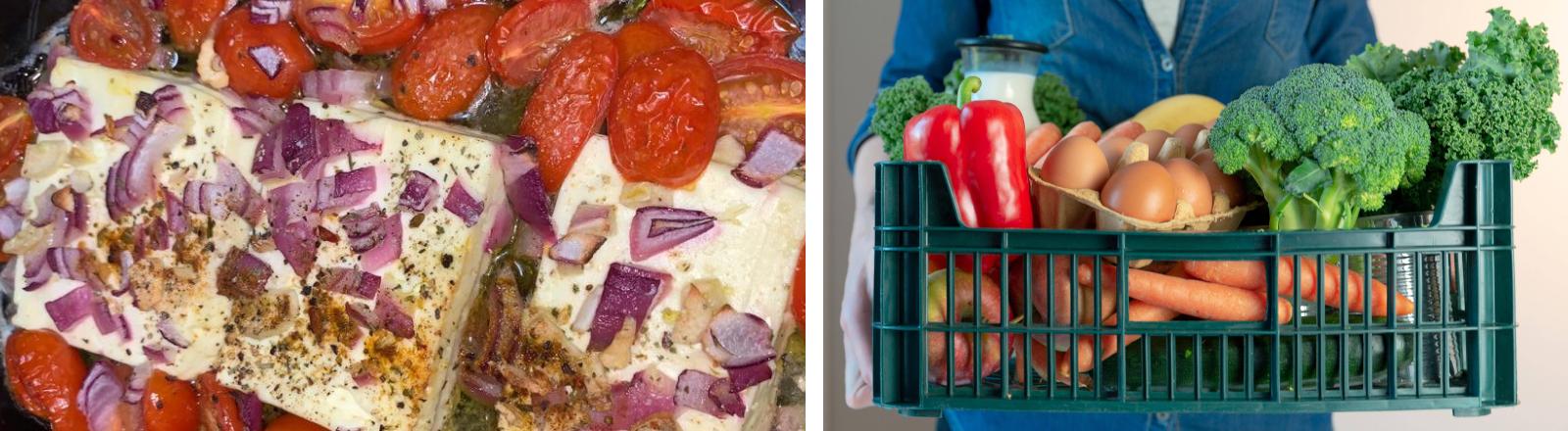 Collage aus einem Auflaufgericht mit Feta und Tomaten und einer Frau, die eine Lebensmittelkiste trägt