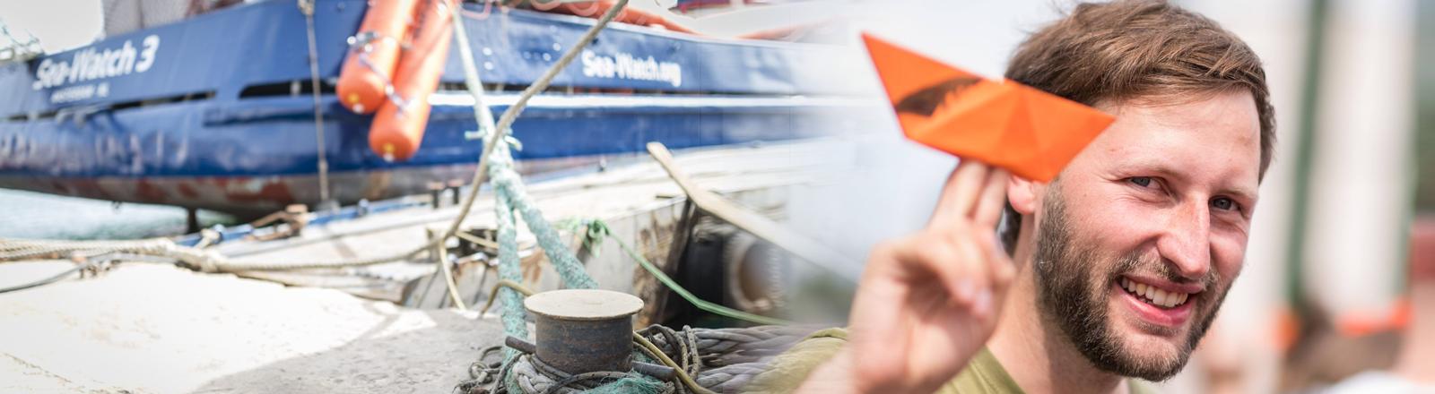 Collage: Das Rettungsschiff Sea-Watch 3 liegt vertäut im Hafen von Malta / Sea-Watch-Mitgründer Ruben Neugebauer bei einer Demonstration