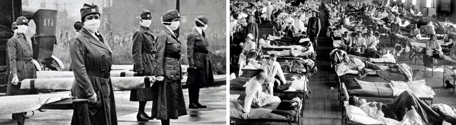 Rot-Kreuz-Krankenschwestern mit Mundschutz und Baren während der Spanischen Grippe in St. Louis Missouri. | Patienten, die an der Spanischen Grippe erkrankt sind, liegen in Betten eines Notfallkrankenhauses im Camp Funston der Militärbasis Fort Riley, Kansas.