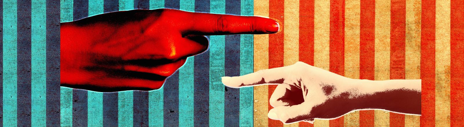 Collage von zwei Fingern, die aufeinander zeigen