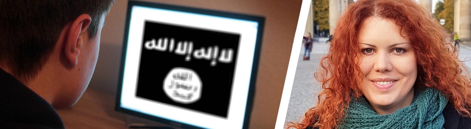 Collage aus Symbolbild Anwerbung durch Salafisten im Netz & Religionswissenschaftlerin Nina Käsehage