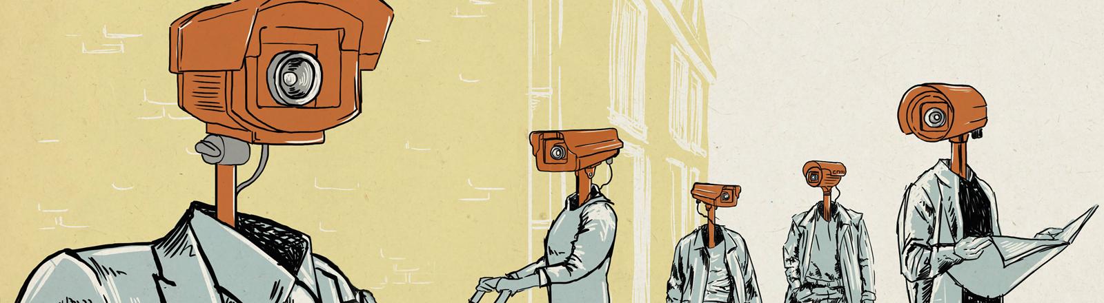 Symbolbild: Ein Mann und eine Frau mit Überwachungskameras als Köpfen (Illustration)