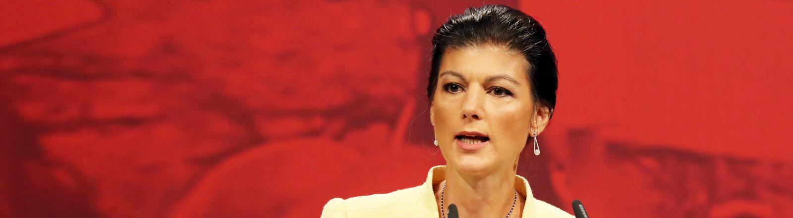 Sarah Wagenknecht bei einer Rede beim Bundesparteitag der Linken 2018